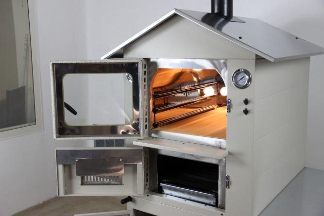 forno da esterno bianco con sportelli aperti e tetto in acciaio inox