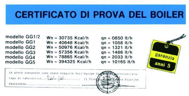 certificato scambiatore di calore