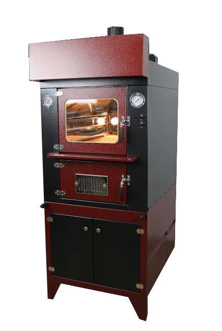 forno a legna indiretto da interno con capa di colore rosso